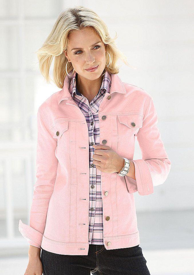Джинсовая розовая куртка