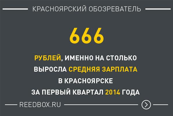 Средняя зарплата Красноярца увеличилась на 666 рублей