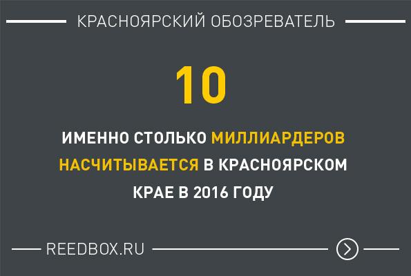 Цифра дня - Количество миллиардеров в Красноярске и Красноярском крае