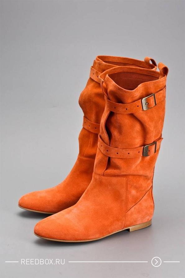 Модные оранжевые женские сапоги 2020