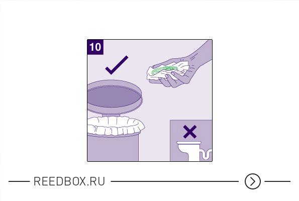 Выбросить использованный презерватив в мусорное ведро